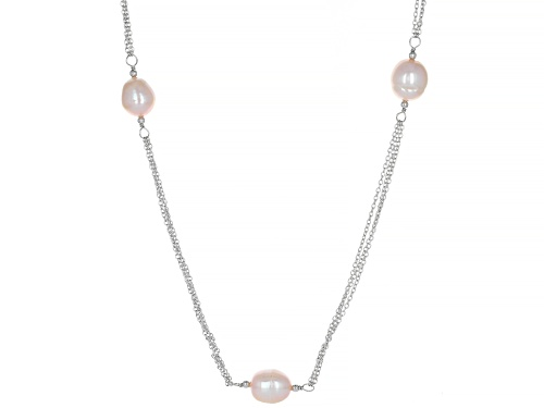Photo of 9-10mm Pink Cultured Freshwater Pearl Rhodium Over Sterling Silver 36 Inch Station Necklace - Size 36