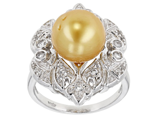 Photo of 10-11mm Golden Cultured South Sea Pearl And 0.45ctw White Topaz Rhodium Over Sterling Silver Ring - Size 8