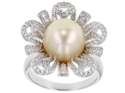 Photo of 10mm Golden Cultured South Sea Pearl And 0.85ctw White Topaz Rhodium Over Sterling Silver Ring - Size 7