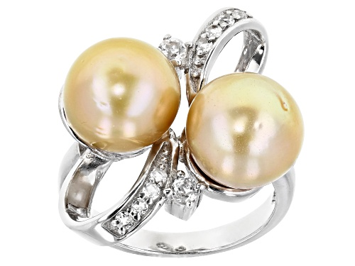 Photo of 10mm Golden Cultured South Sea Pearl And 0.3ctw White Topaz Rhodium Over Sterling Silver Ring - Size 8
