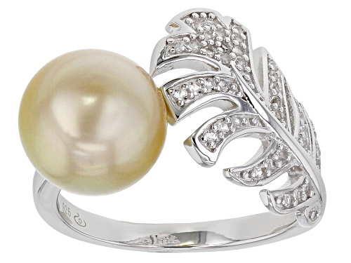 Photo of 10mm Golden Cultured South Sea Pearl And 0.26ctw White Topaz Rhodium Over Sterling Silver Ring - Size 9