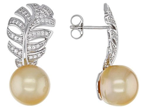 Photo of 10mm Golden Cultured South Sea Pearl And 0.26ctw White Topaz Rhodium Over Sterling Silver Earrings