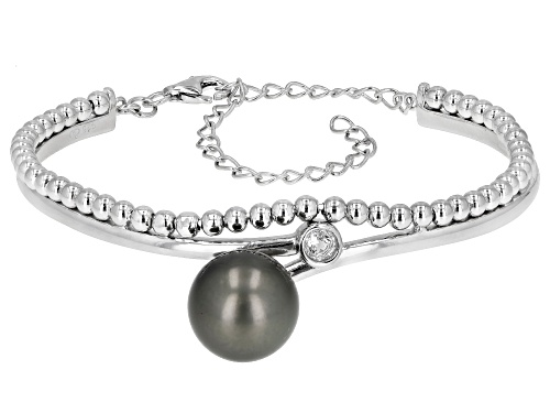 Photo of 12mm Cultured Tahitian Pearl And 0.3ctw White Topaz Rhodium Over Sterling Silver Bracelet - Size 7