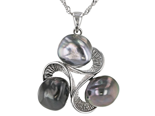 Photo of 8-9mm Multi-Color Cultured Keshi Tahitian Pearl Rhodium Over Sterling Silver Pendant With Chain