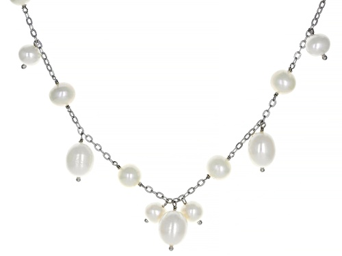 7-10mm White Cultured Freshwater Pearl Rhodium Over Sterling Silver 36 Inch Necklace - Size 36