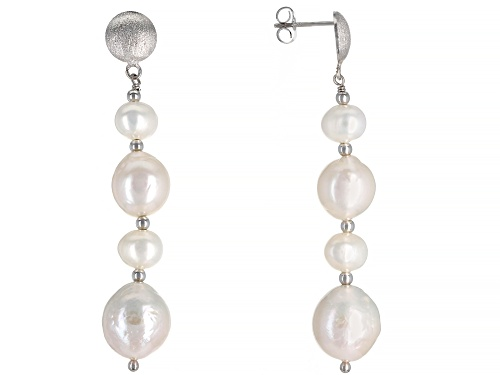 Photo of Genusis™ 10-13mm & 7-8mm White Cultured Freshwater Pearl Rhodium Over Sterling Silver Earrings