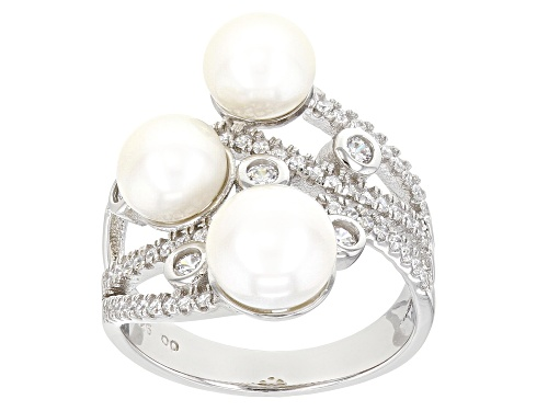 Photo of 6-7.5mm White Cultured Freshwater Pearl & Bella Luce® Rhodium Over Sterling Silver Ring - Size 12