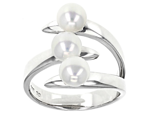 Photo of 5mm White Cultured Freshwater Pearl Rhodium Over Sterling Silver Ring - Size 11