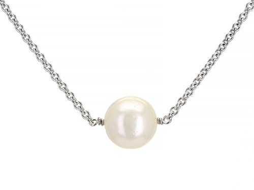 Photo of Genusis™ 11-12mm White Cultured Freshwater Pearl Rhodium Over Sterling Silver 18 Inch Necklace - Size 18