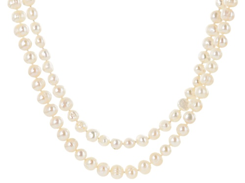 Photo of 8-10mm White Cultured Freshwater Pearl 64 Inch Endless Strand Necklace Set of 2 - Size 64