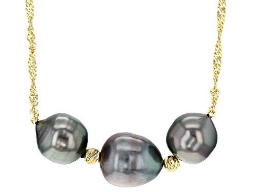 Photo of 8-10mm Cultured Tahitian Pearl 18k Yellow Gold Over Sterling Silver 18 Inch Necklace - Size 18