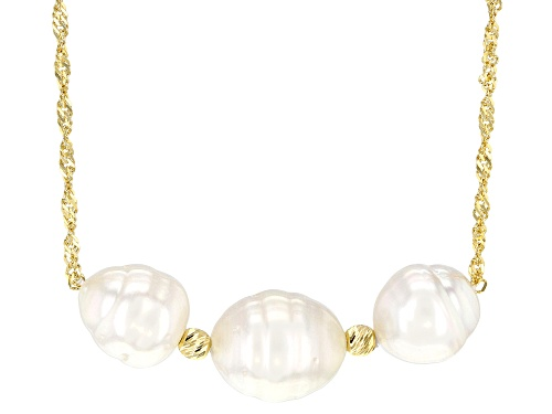 Photo of 8-10mm White Cultured South Sea Pearl 18k Yellow Gold Over Sterling Silver 18 Inch Necklace - Size 18