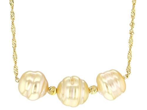 Photo of 8-10mm Golden Cultured South Sea Pearl 18k Yellow Gold Over Sterling Silver 18 Inch Necklace - Size 18