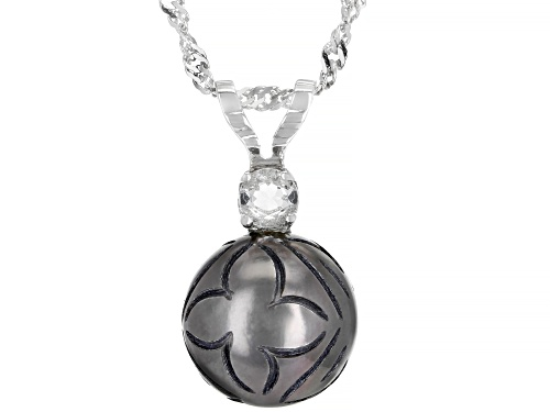 Photo of 12mm Carved Cultured Tahitian Pearl And Topaz Rhodium Over Sterling Silver Pendant With Chain