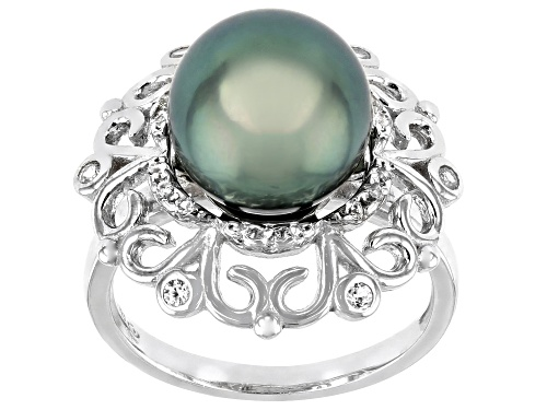 Photo of 10mm Cultured Tahitian Pearl And White Topaz 0.4ctw Rhodium Over Sterling Silver Ring - Size 7