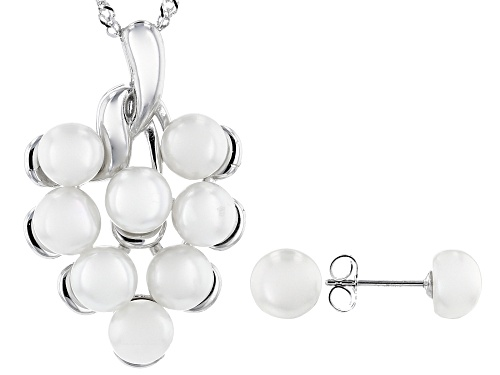 Photo of 6-8mm White Cultured Freshwater Pearl Rhodium Over Sterling Silver Pendant And Earrings Set