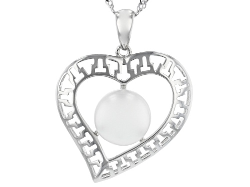 Photo of Genusis™ 11-12mm White Cultured Freshwater Pearl Rhodium Over Sterling Silver Heart Pendant