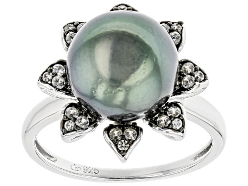 Photo of 9-10mm Cultured Tahitian Pearl & White Zircon 0.41ctw Two-Toned Rhodium Over Sterling Silver Ring - Size 8