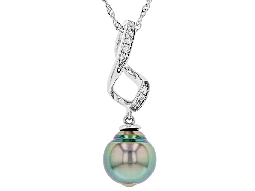 Photo of 10-11mm Cultured Tahitian Pearl & White Zircon Rhodium Over Sterling Silver Pendant With Chain