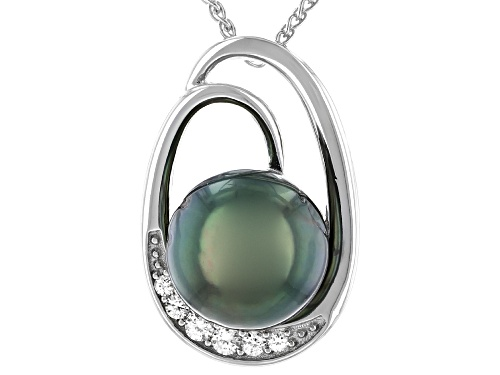 Photo of 9-10mm Cultured Tahitian Pearl & White Zircon Rhodium Over Sterling Silver Pendant With Chain