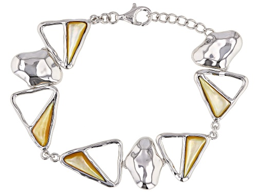 Photo of Golden South Sea Mother-of-Pearl Rhodium Over Sterling Silver 7 Inch Bracelet - Size 7