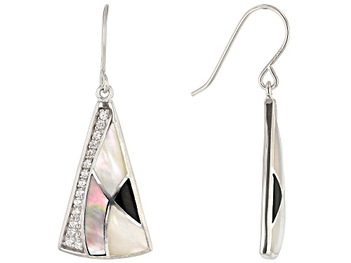 Photo of White South Sea & Tahitian Mother-of-Pearl, Onyx, & Zircon Rhodium Over Sterling Silver Earrings