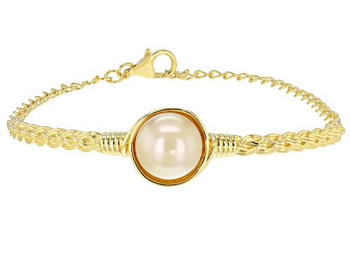 Photo of 11-12mm Golden Cultured South Sea Pearl 18k Yellow Gold Over Sterling Silver 7 Inch Bracelet - Size 7