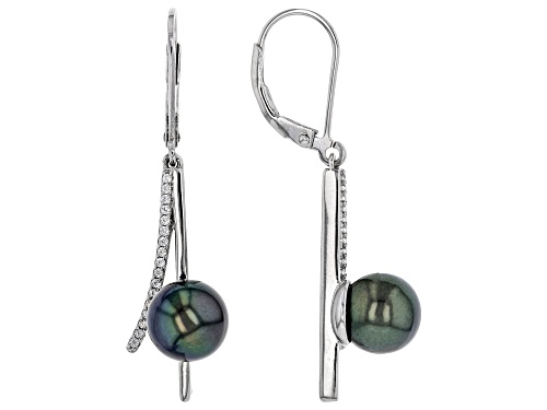 Photo of 8-9mm Cultured Tahitian Pearl & White Zircon Rhodium Over Sterling Silver Earrings