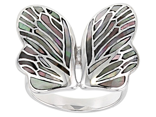 Photo of Tahitian Mother-of-Pearl Rhodium Over Sterling Silver Butterfly Ring - Size 8