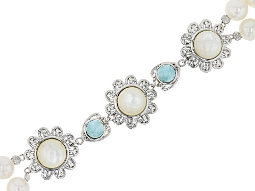 Photo of White Cultured Freshwater Pearl, Mother-of-Pearl, & Larimar Rhodium Over Sterling Silver Bracelet - Size 8