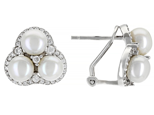 Photo of 5.5mm White Cultured Freshwater Pearl & Bella Luce® Rhodium Over Sterling Silver Earrings