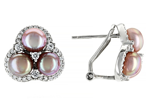 Photo of 5.5mm Pink Cultured Freshwater Pearl & Bella Luce® Rhodium Over Sterling Silver Earrings
