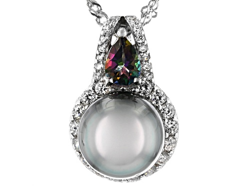 Photo of 9.5-10mm Cultured Tahitian Pearl, Mystic Topaz, & White Zircon Rhodium Over Sterling Silver Pendant