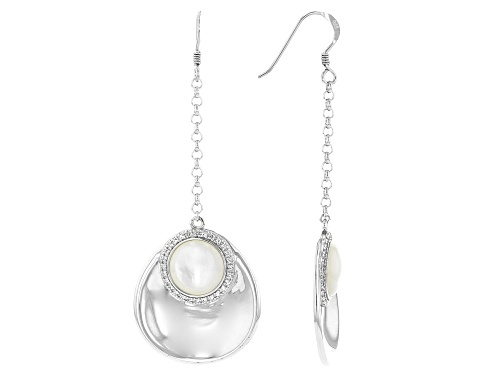 Photo of White Mother-of-Pearl & White Topaz Rhodium Over Sterling Silver Dangle Earrings