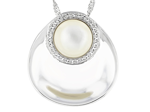 Photo of White Mother-of-Pearl & White Topaz Rhodium Over Sterling Silver Pendant With Chain