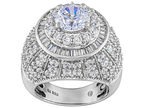Photo of Bella Luce ® 9.30ctw Round & Baguette Rhodium Over Sterling Silver Ring - Size 5