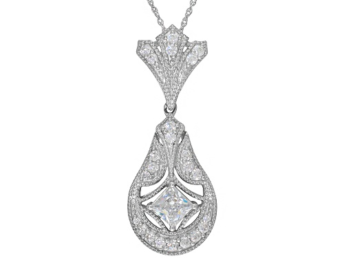 Photo of Bella Luce ® 2.05ctw Princess Cut & Round Rhodium Over Sterling Silver Pendant With Chain