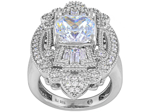 Photo of Bella Luce ® 7.45ctw Cushion, Baguette And Round Rhodium Over Sterling Silver Ring - Size 8