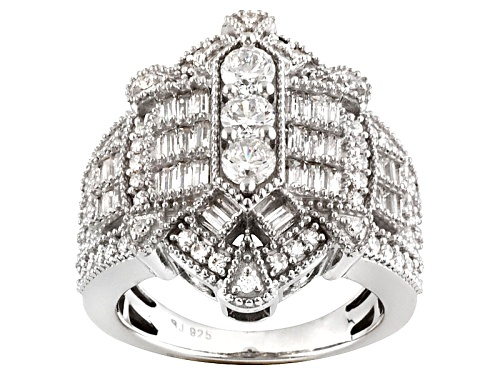 Photo of Bella Luce ® 2.87ctw Diamond Simulant Rhodium Over Sterling Silver Ring (2.37ctw Dew) - Size 5