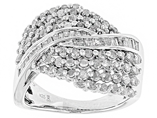 Photo of 1.50ctw Round And Baguette White Diamond Rhodium Over Sterling Silver Cluster Ring - Size 7