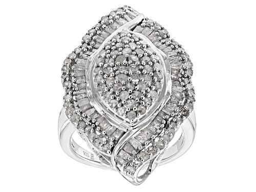 Photo of 2.00ctw Round And Baguette White Diamond Rhodium Over Sterling Silver Cluster Ring - Size 5