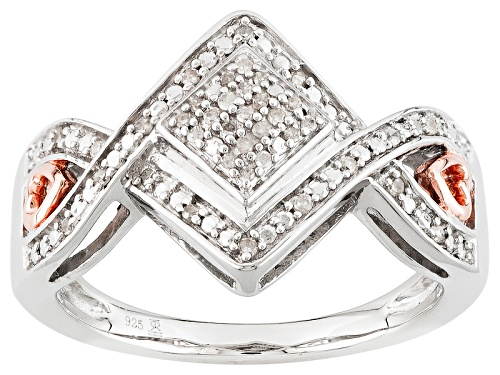 Photo of .10ctw Round White Diamond Rhodium And 14k Rose Gold Over Sterling Silver Cluster Ring - Size 6
