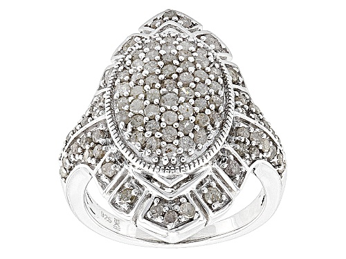Photo of 1.50ctw Round White Diamond Rhodium Over Sterling Silver Cluster Ring - Size 6