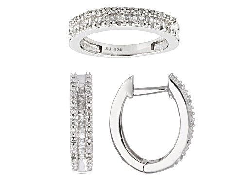 Photo of .50ctw Baguette And Round White Diamond Rhodium Over Sterling Silver Earring And Ring Set