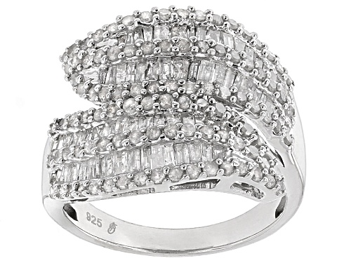 Photo of 1.50ctw Round And Baguette White Diamond Rhodium Over Sterling Silver Ring - Size 6