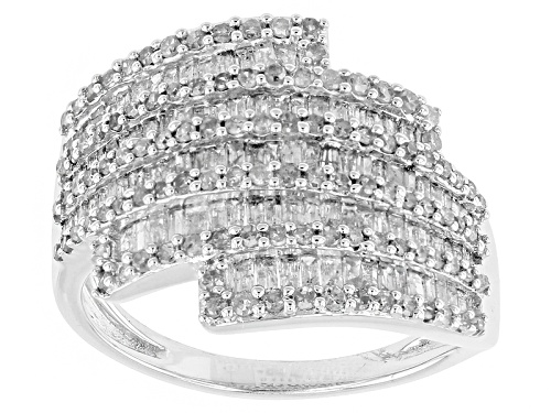 Photo of 1.40ctw Baguette And Round White Diamond Rhodium Over Sterling Silver Cluster Ring - Size 6