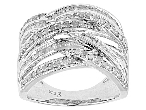 Photo of 1.00ctw Round And Baguette Diamond Rhodium Over Sterling Silver Band Ring - Size 7