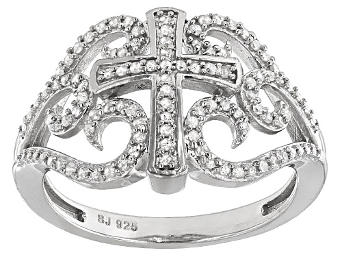Photo of .25ctw Round White Diamond Rhodium Over Sterling Silver Cross Ring - Size 6