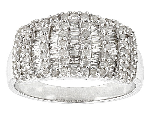 Photo of .84ctw Round And Baguette White Diamond Rhodium Over Sterling Silver Band Ring - Size 7
