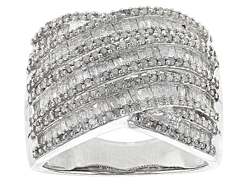 Photo of 1.25ctw Round And Baguette White Diamond Rhodium Over Sterling Silver Crossover Ring - Size 6